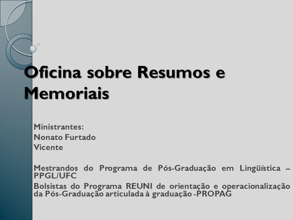 Oficina sobre Resumos e Memoriais