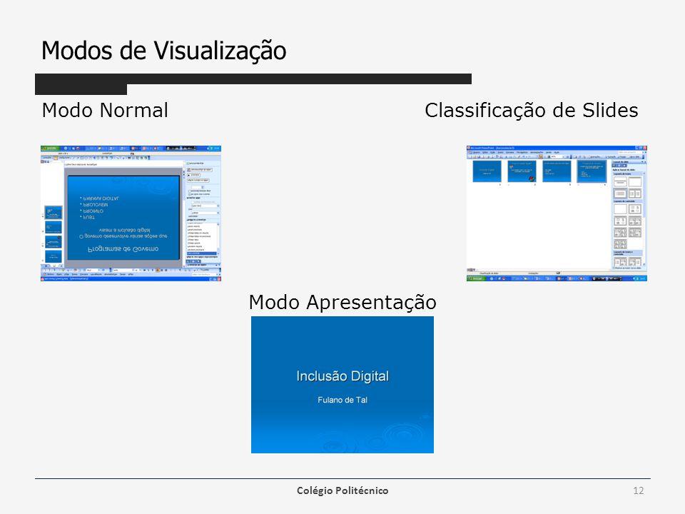Modos de Visualização Modo Normal Classificação de Slides Modo Apresentação Colégio Politécnico