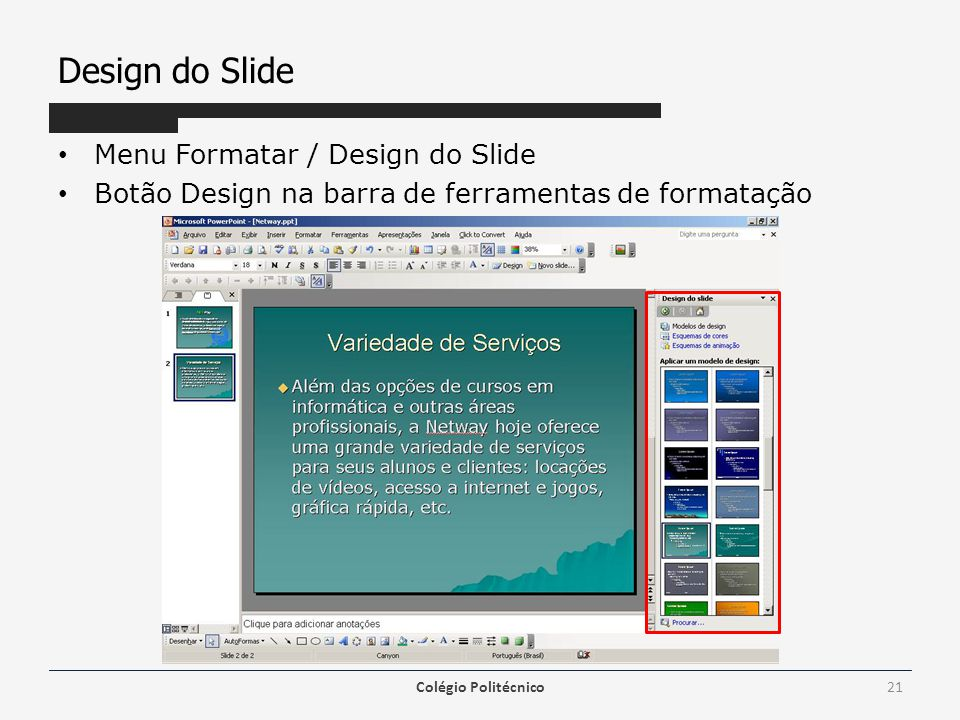 Design do Slide Menu Formatar / Design do Slide