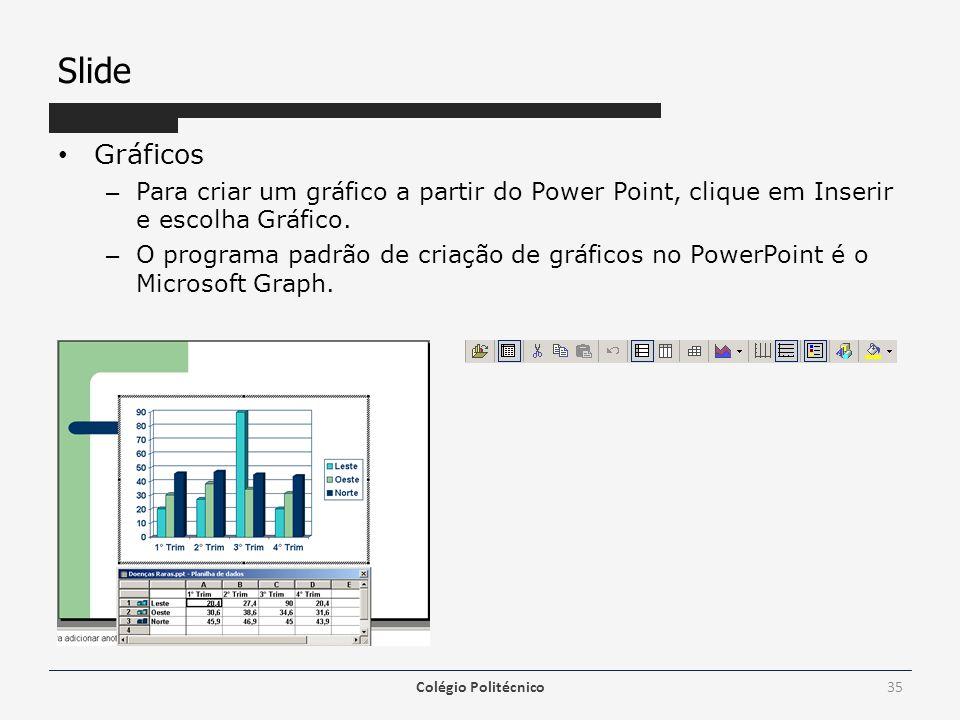 Slide Gráficos. Para criar um gráfico a partir do Power Point, clique em Inserir e escolha Gráfico.