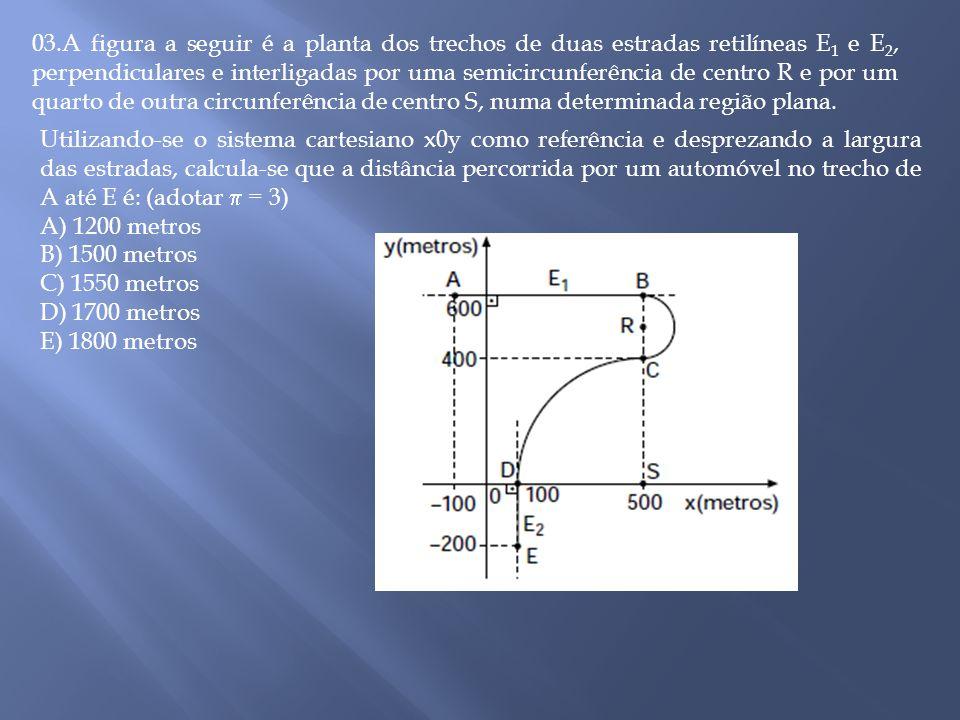 03.A figura a seguir é a planta dos trechos de duas estradas retilíneas E1 e E2, perpendiculares e interligadas por uma semicircunferência de centro R e por um quarto de outra circunferência de centro S, numa determinada região plana.