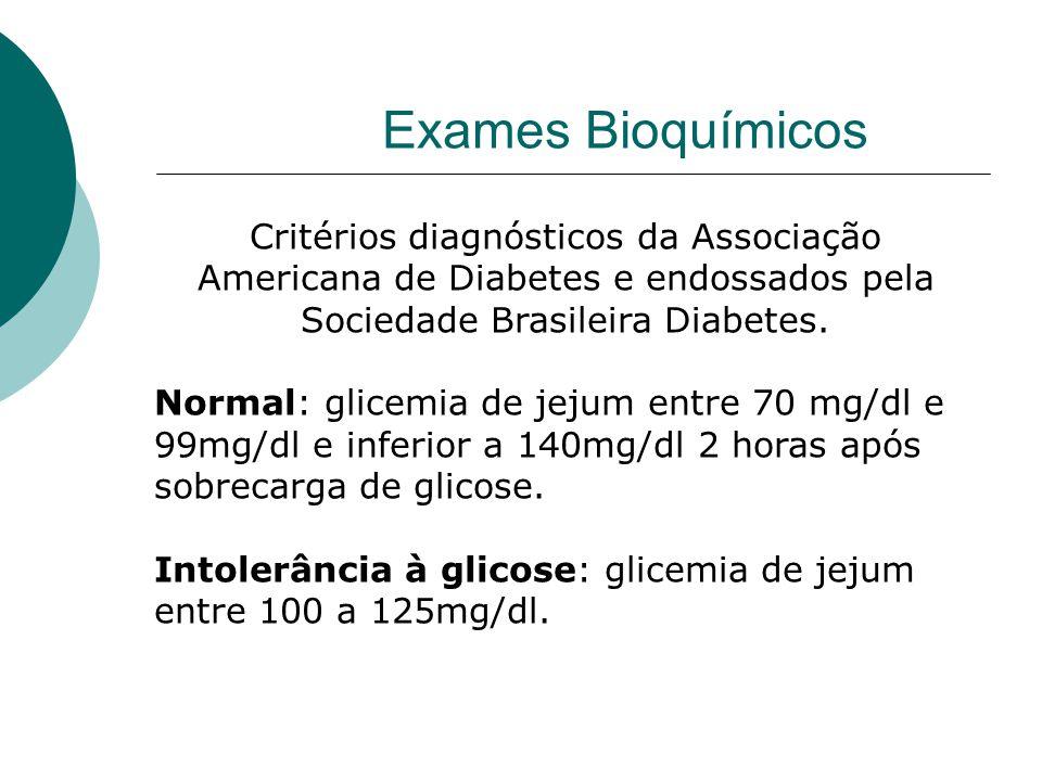 Exames Bioquímicos Critérios diagnósticos da Associação Americana de Diabetes e endossados pela Sociedade Brasileira Diabetes.