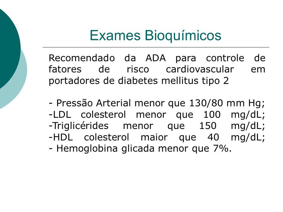 Exames Bioquímicos Recomendado da ADA para controle de fatores de risco cardiovascular em portadores de diabetes mellitus tipo 2.