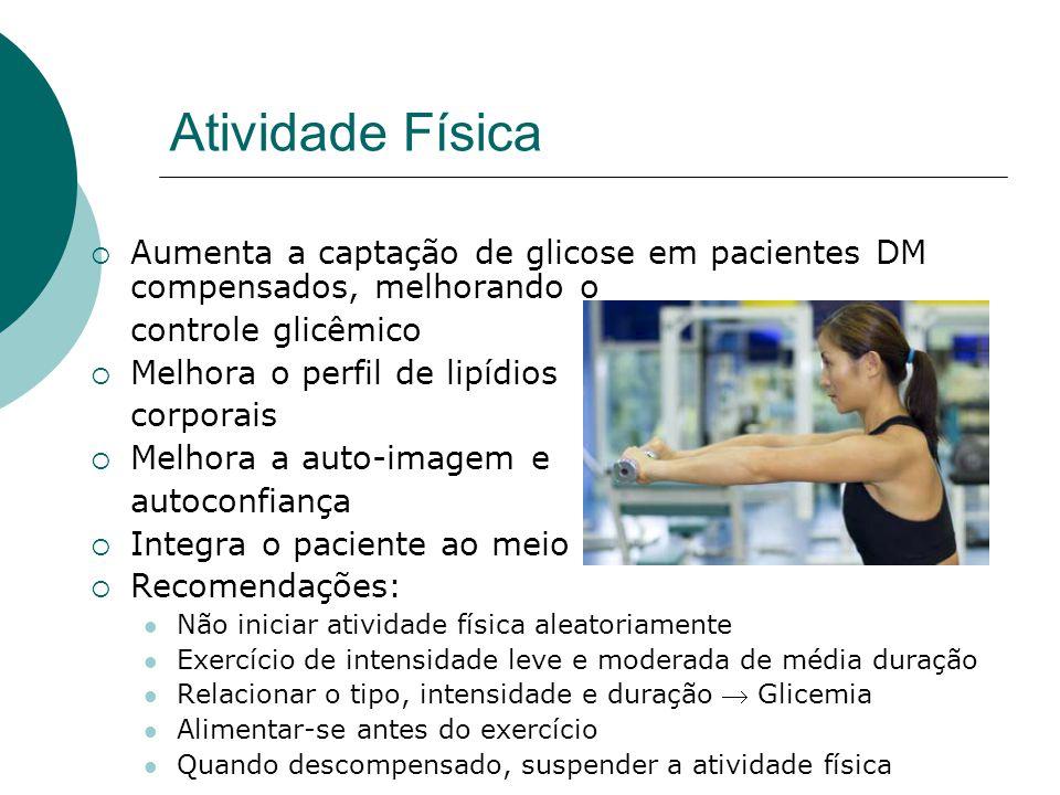 Atividade Física Aumenta a captação de glicose em pacientes DM compensados, melhorando o. controle glicêmico.
