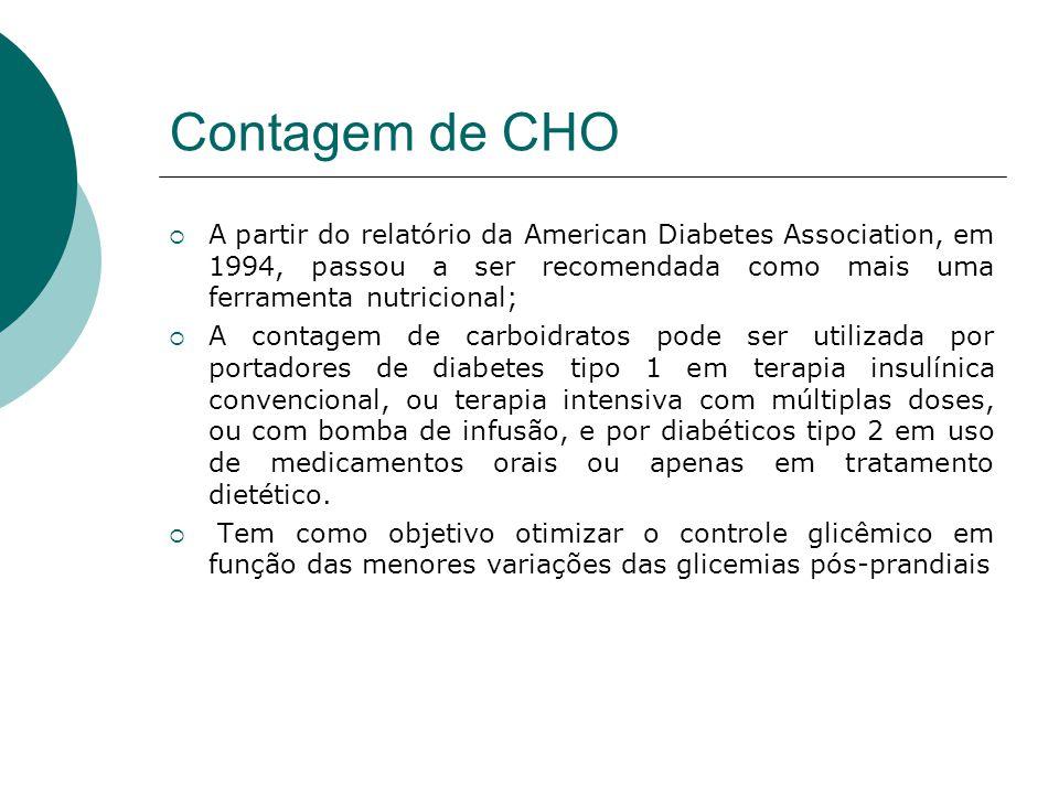 Contagem de CHO A partir do relatório da American Diabetes Association, em 1994, passou a ser recomendada como mais uma ferramenta nutricional;