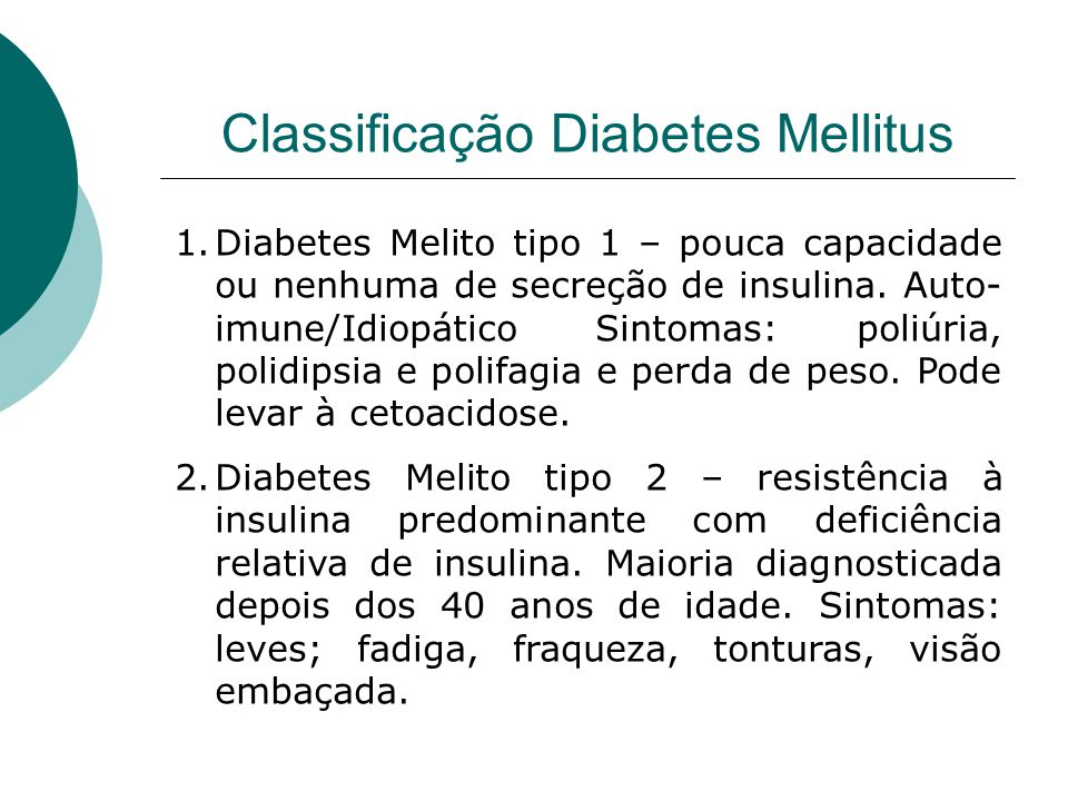 Classificação Diabetes Mellitus