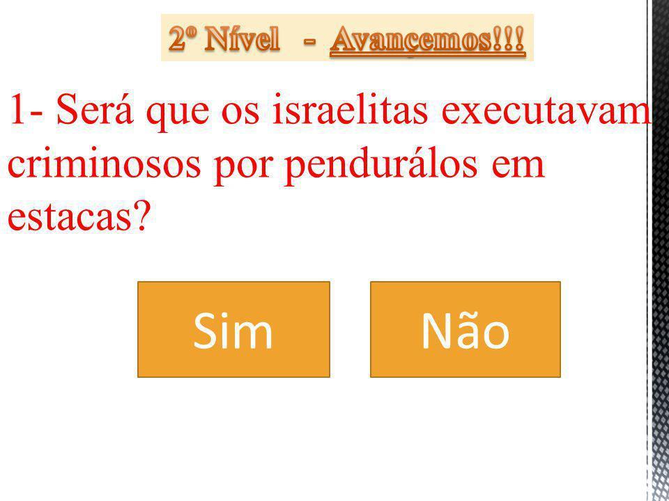 2º Nível - Avançemos!!! 1- Será que os israelitas executavam criminosos por pendurálos em estacas
