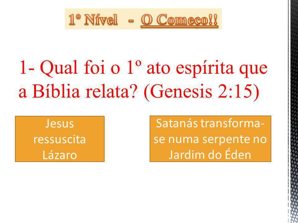 1- Qual foi o 1º ato espírita que a Bíblia relata (Genesis 2:15)