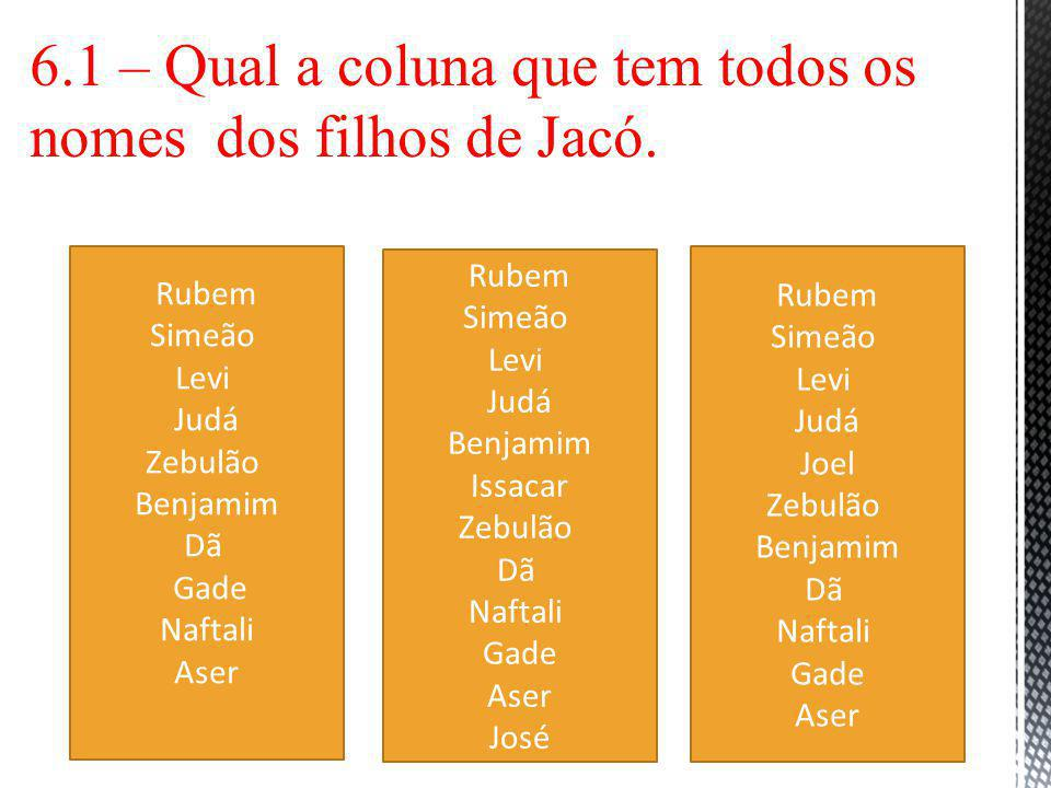 6.1 – Qual a coluna que tem todos os nomes dos filhos de Jacó.