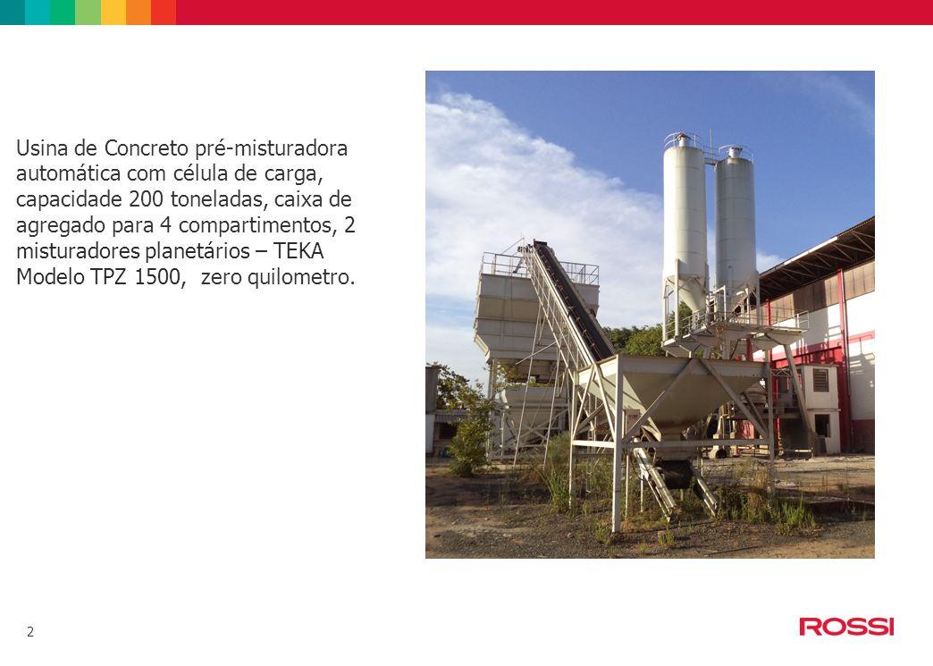 Usina de Concreto pré-misturadora automática com célula de carga, capacidade 200 toneladas, caixa de agregado para 4 compartimentos, 2 misturadores planetários – TEKA Modelo TPZ 1500, zero quilometro.