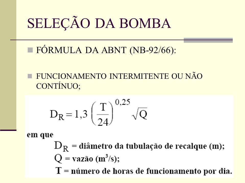 SELEÇÃO DA BOMBA FÓRMULA DA ABNT (NB-92/66):