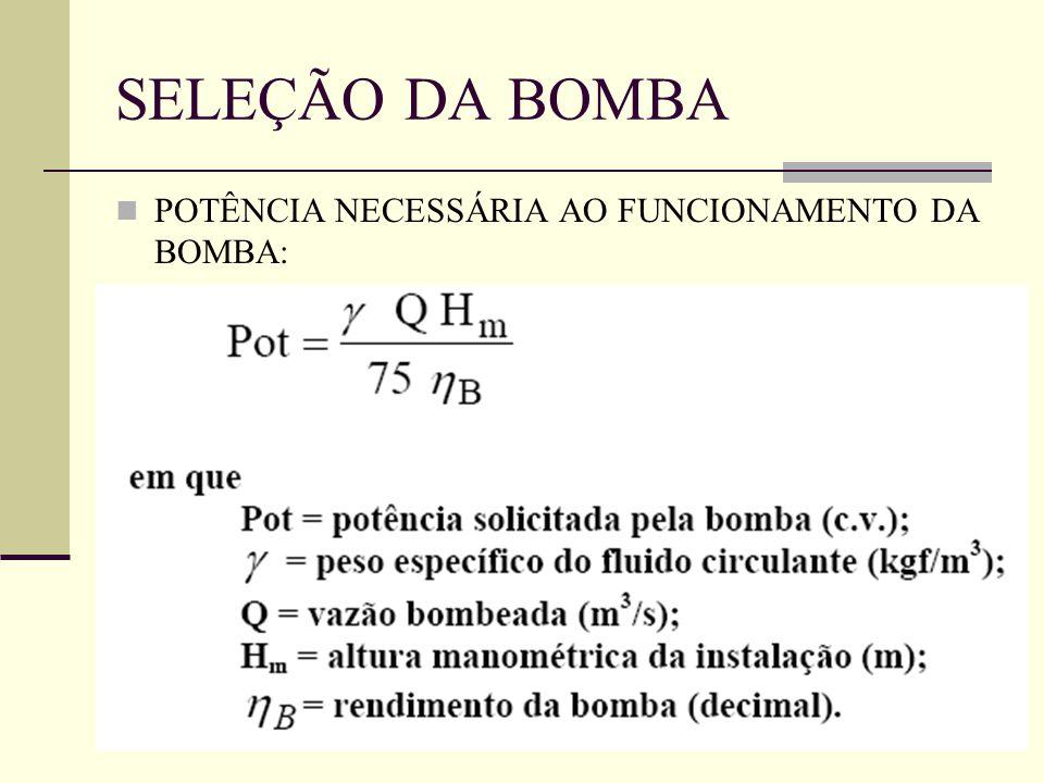 SELEÇÃO DA BOMBA POTÊNCIA NECESSÁRIA AO FUNCIONAMENTO DA BOMBA: