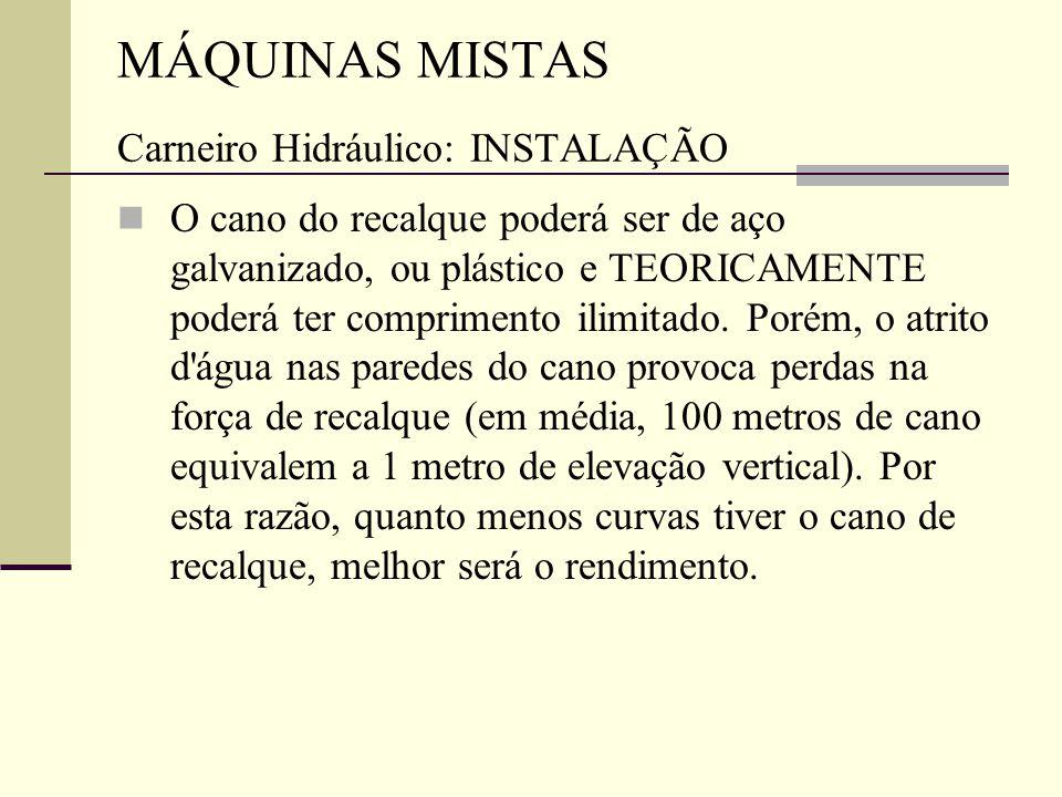 MÁQUINAS MISTAS Carneiro Hidráulico: INSTALAÇÃO