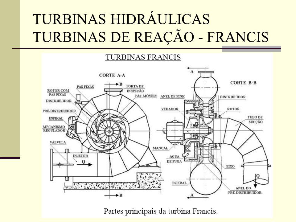 TURBINAS HIDRÁULICAS TURBINAS DE REAÇÃO - FRANCIS