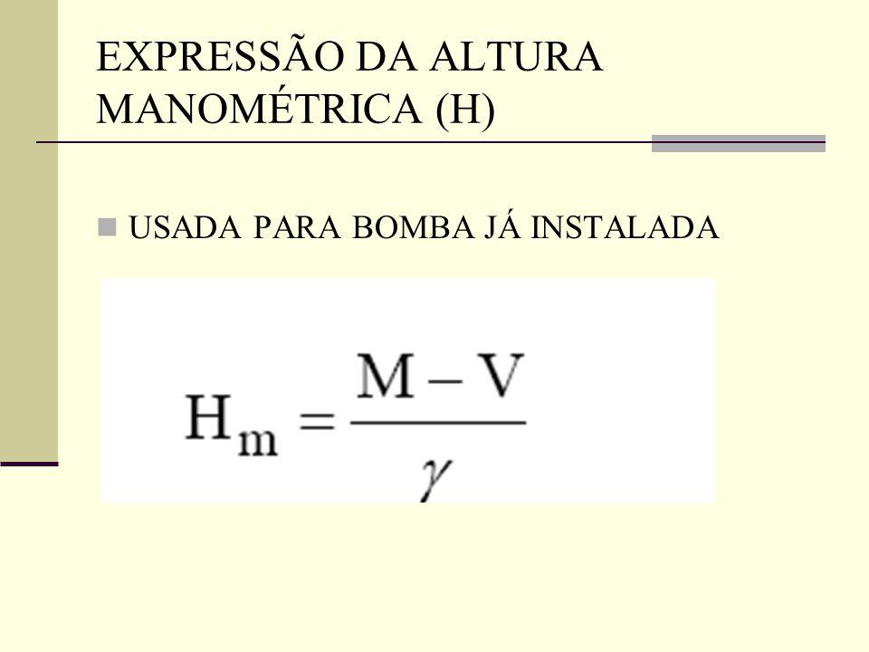 EXPRESSÃO DA ALTURA MANOMÉTRICA (H)