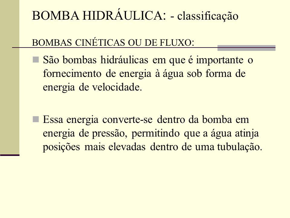 BOMBA HIDRÁULICA: - classificação BOMBAS CINÉTICAS OU DE FLUXO: