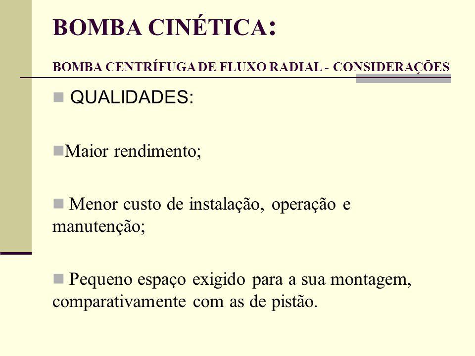BOMBA CINÉTICA: BOMBA CENTRÍFUGA DE FLUXO RADIAL - CONSIDERAÇÕES
