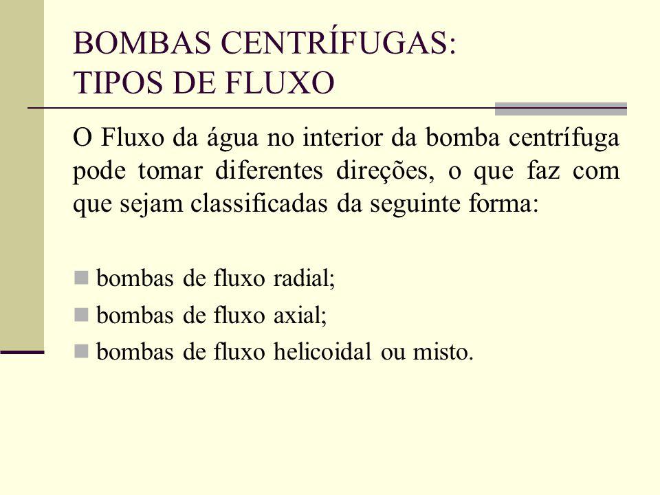 BOMBAS CENTRÍFUGAS: TIPOS DE FLUXO