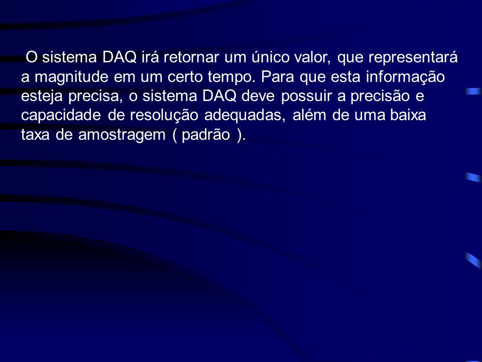 O sistema DAQ irá retornar um único valor, que representará a magnitude em um certo tempo.