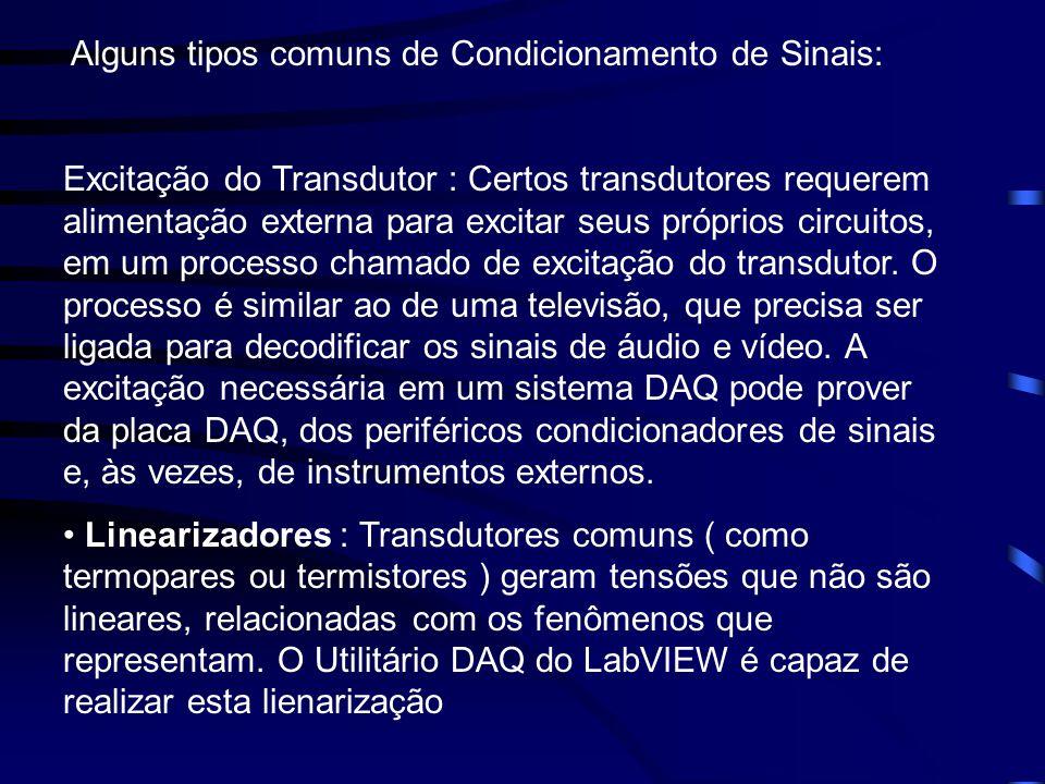 Alguns tipos comuns de Condicionamento de Sinais: