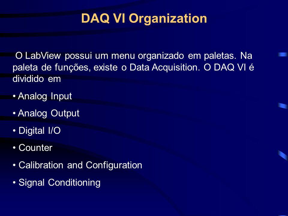 DAQ VI Organization O LabView possui um menu organizado em paletas. Na paleta de funções, existe o Data Acquisition. O DAQ VI é dividido em.