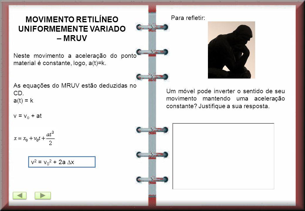 MOVIMENTO RETILÍNEO UNIFORMEMENTE VARIADO – MRUV