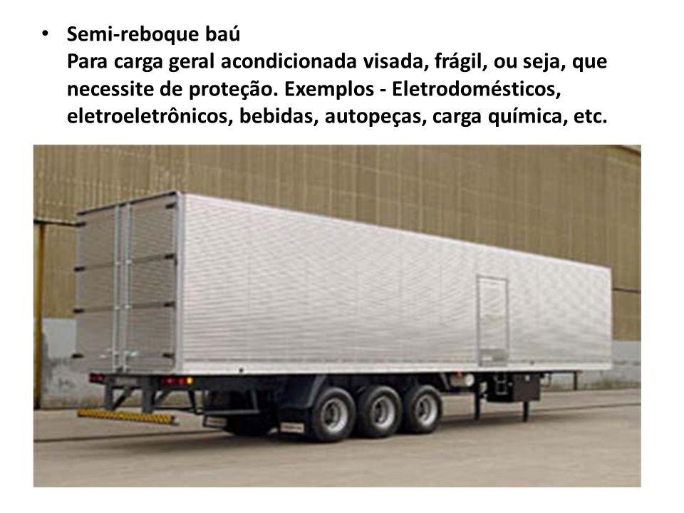 Semi-reboque baú Para carga geral acondicionada visada, frágil, ou seja, que necessite de proteção.
