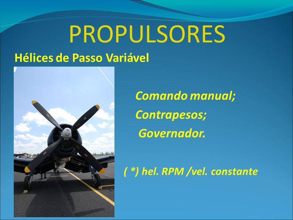 PROPULSORES Hélices de Passo Variável Comando manual; Contrapesos;