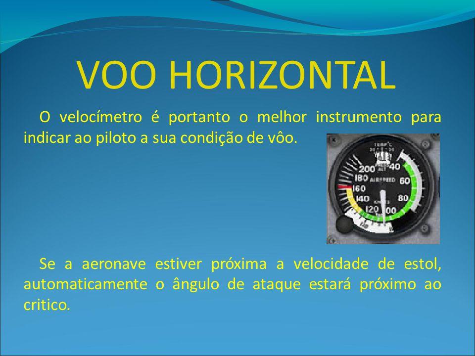 VOO HORIZONTAL O velocímetro é portanto o melhor instrumento para indicar ao piloto a sua condição de vôo.