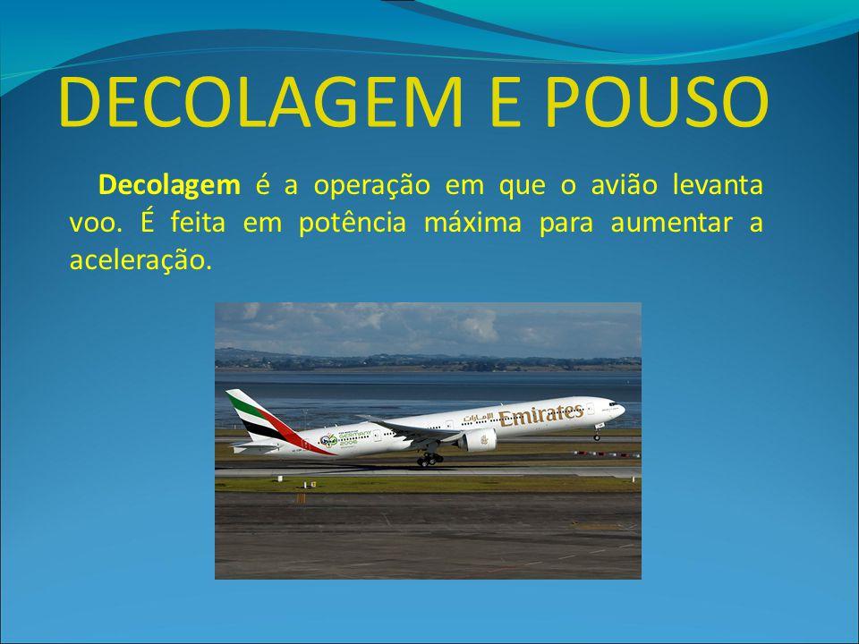 DECOLAGEM E POUSO Decolagem é a operação em que o avião levanta voo.