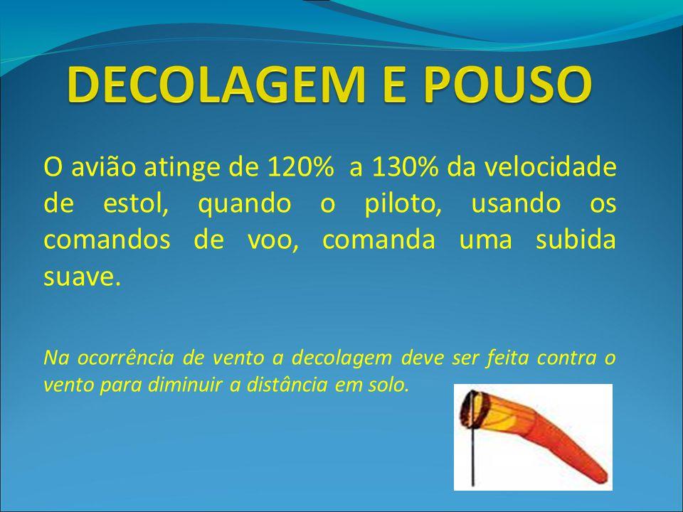 O avião atinge de 120% a 130% da velocidade de estol, quando o piloto, usando os comandos de voo, comanda uma subida suave.