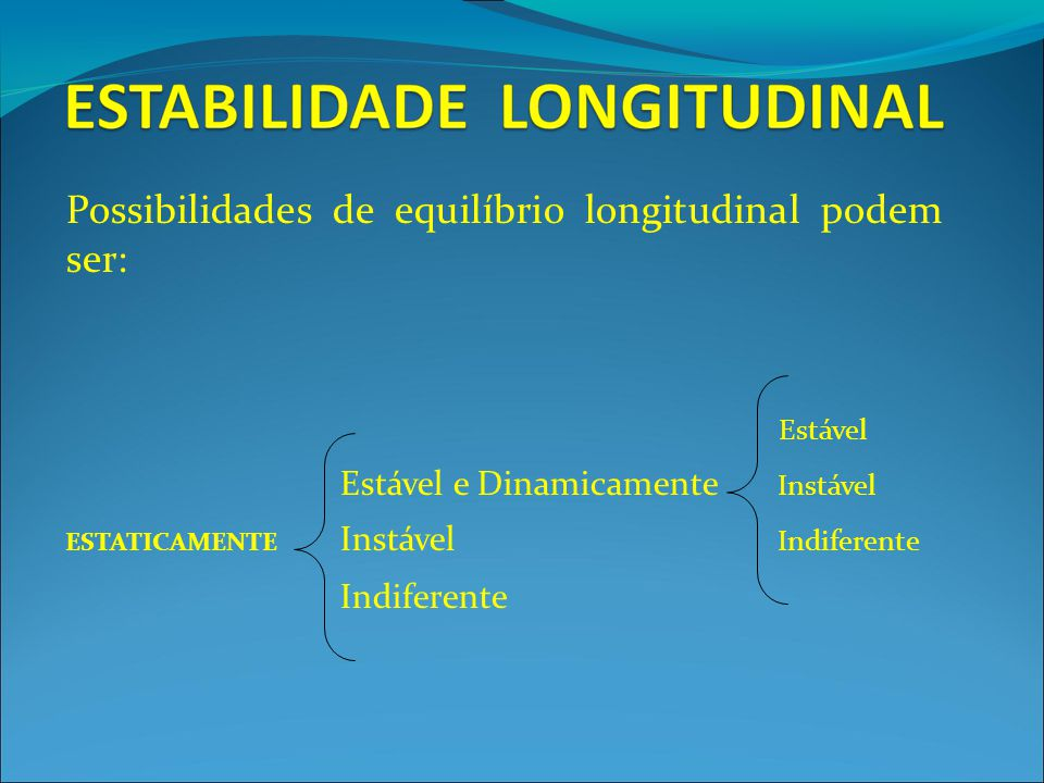Possibilidades de equilíbrio longitudinal podem ser: