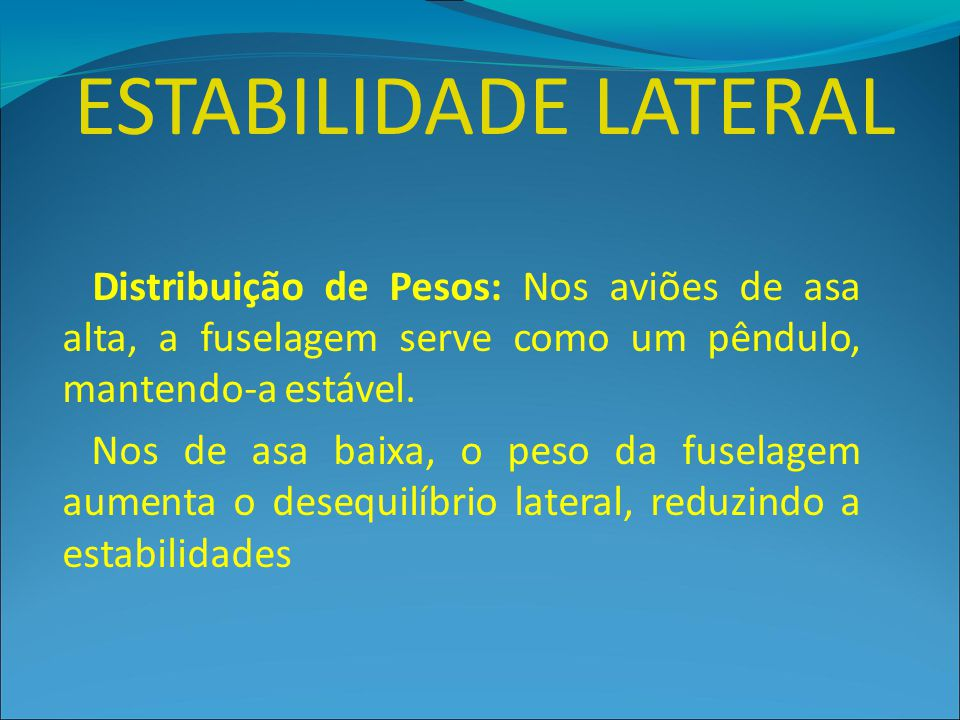 ESTABILIDADE LATERAL Distribuição de Pesos: Nos aviões de asa alta, a fuselagem serve como um pêndulo, mantendo-a estável.