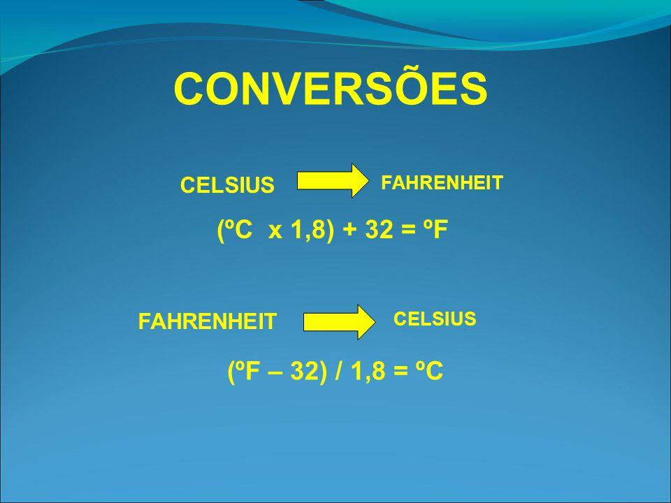 CONVERSÕES (ºC x 1,8) + 32 = ºF (ºF – 32) / 1,8 = ºC CELSIUS