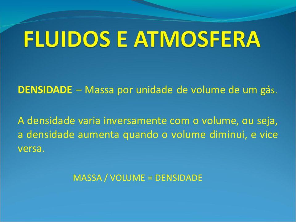 DENSIDADE – Massa por unidade de volume de um gás.