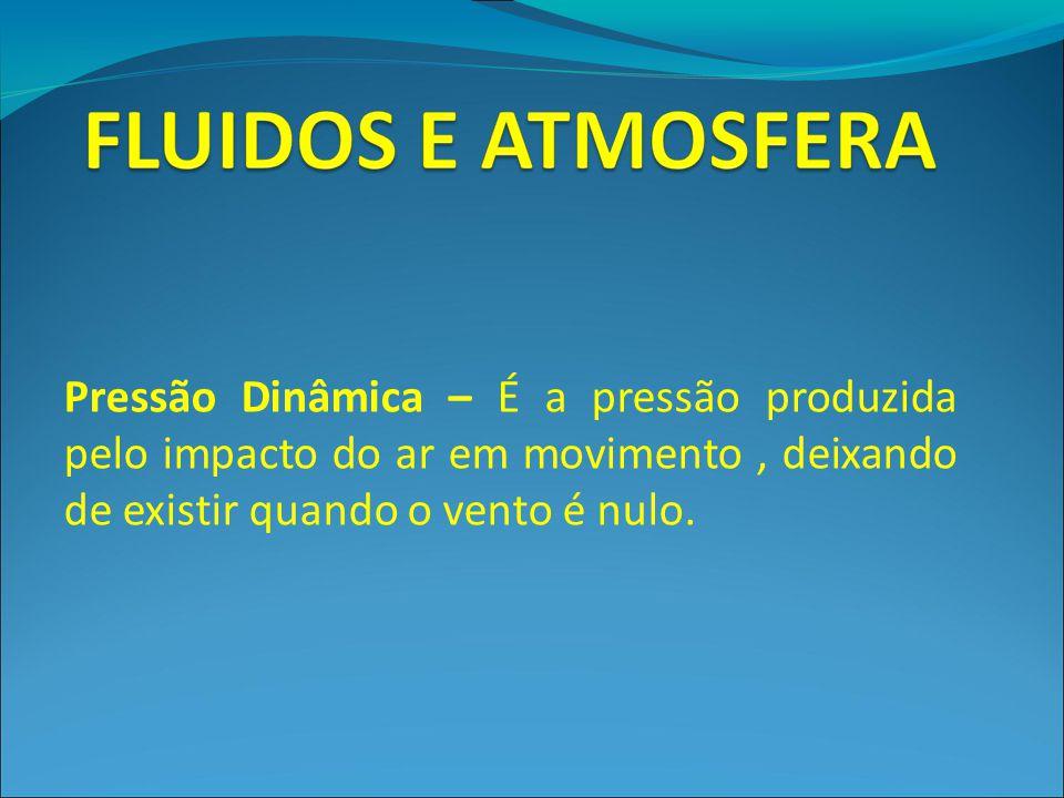Pressão Dinâmica – É a pressão produzida pelo impacto do ar em movimento , deixando de existir quando o vento é nulo.