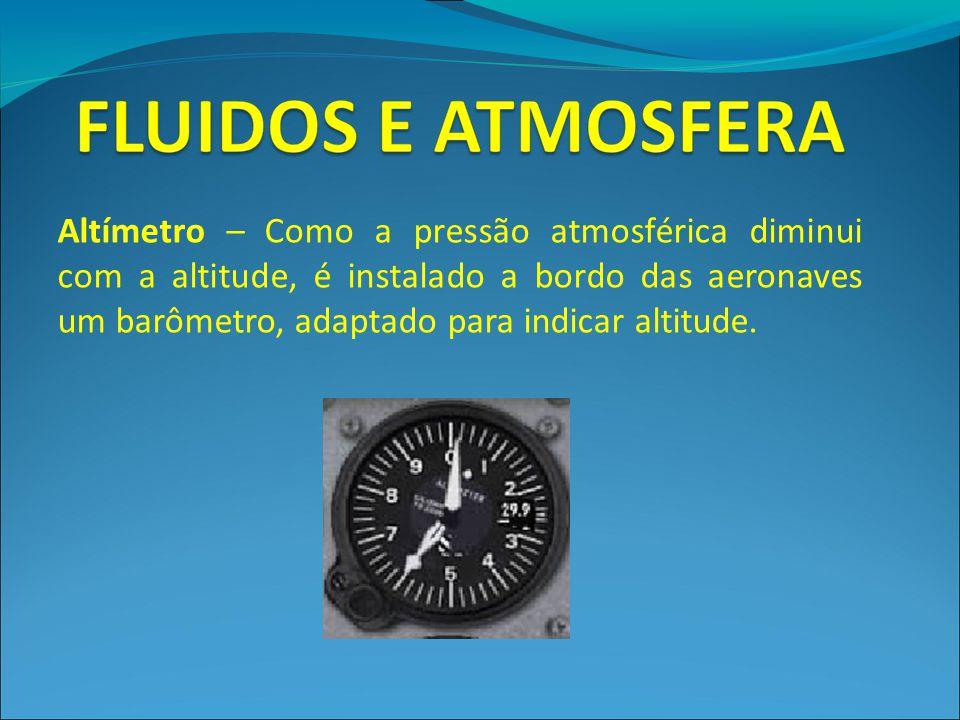 Altímetro – Como a pressão atmosférica diminui com a altitude, é instalado a bordo das aeronaves um barômetro, adaptado para indicar altitude.