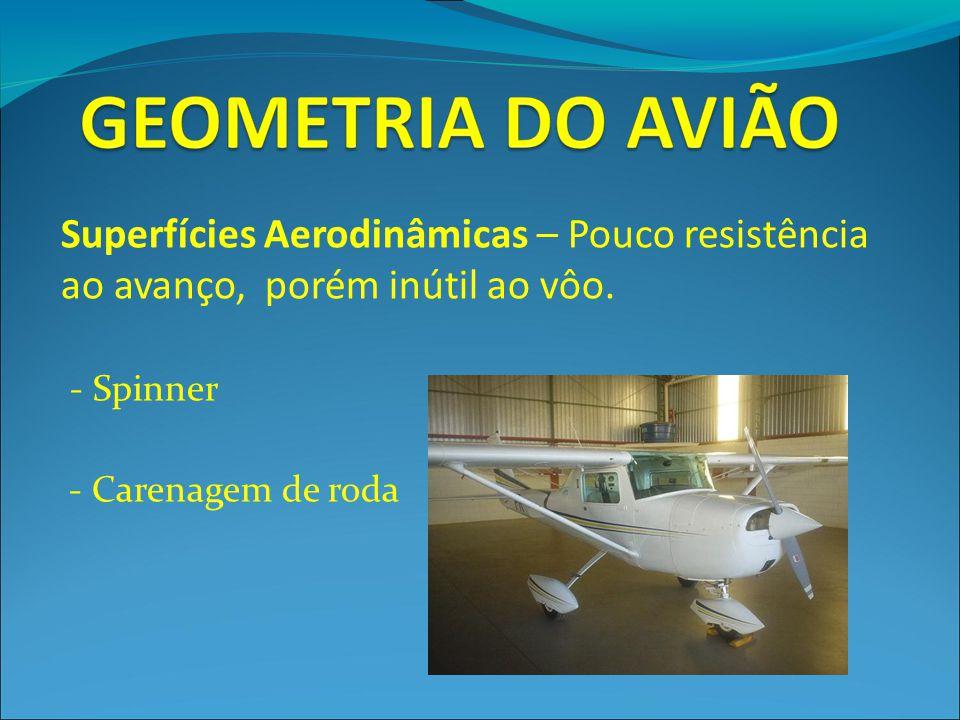 Superfícies Aerodinâmicas – Pouco resistência ao avanço, porém inútil ao vôo.