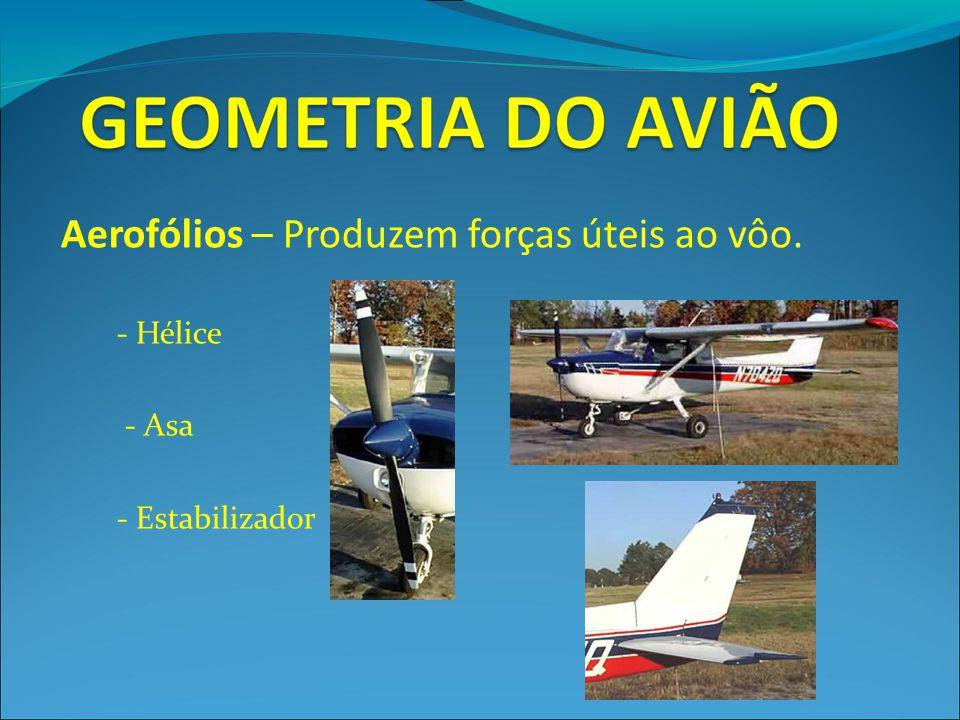 Aerofólios – Produzem forças úteis ao vôo.