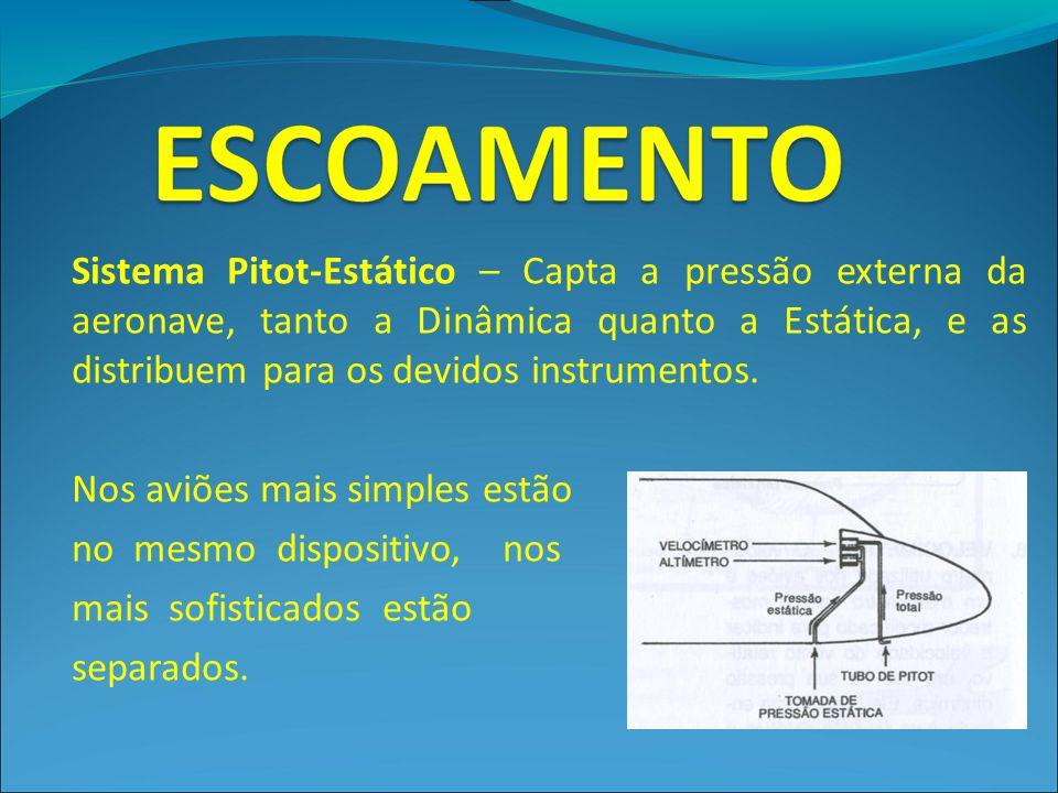 Sistema Pitot-Estático – Capta a pressão externa da aeronave, tanto a Dinâmica quanto a Estática, e as distribuem para os devidos instrumentos.