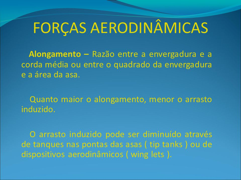 FORÇAS AERODINÂMICAS Alongamento – Razão entre a envergadura e a corda média ou entre o quadrado da envergadura e a área da asa.