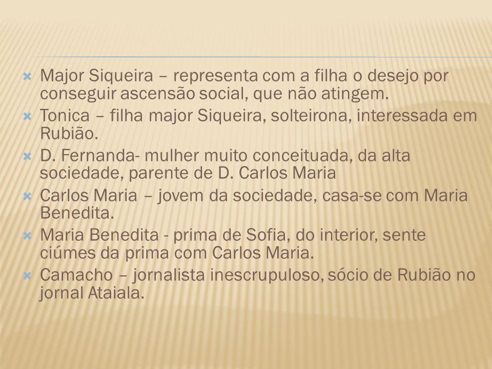 Major Siqueira – representa com a filha o desejo por conseguir ascensão social, que não atingem.