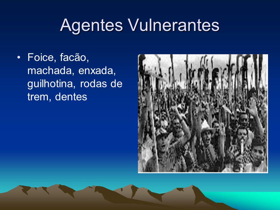 Agentes Vulnerantes Foice, facão, machada, enxada, guilhotina, rodas de trem, dentes