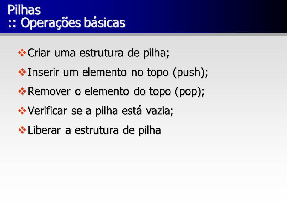 Pilhas :: Operações básicas