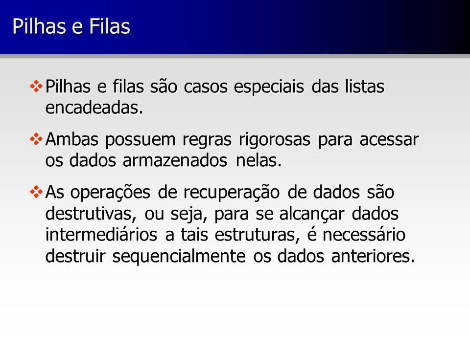 Pilhas e Filas Pilhas e filas são casos especiais das listas encadeadas. Ambas possuem regras rigorosas para acessar os dados armazenados nelas.