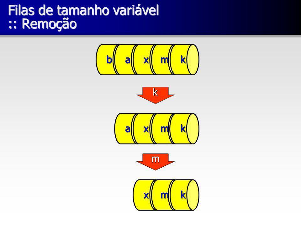 Filas de tamanho variável :: Remoção