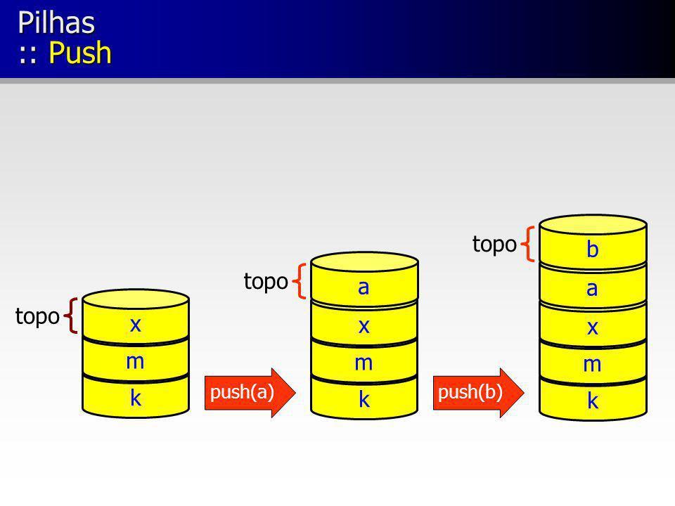 Pilhas :: Push topo k m x a b topo k m x a x topo m k push(a) push(b)