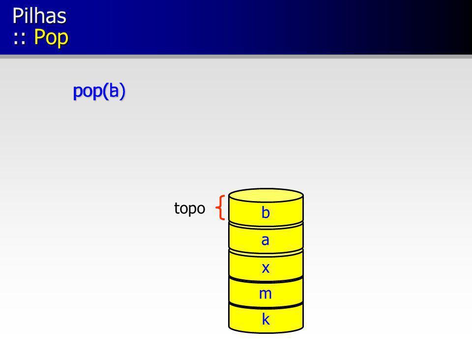 Pilhas :: Pop pop(b) pop(a) b topo a x m k