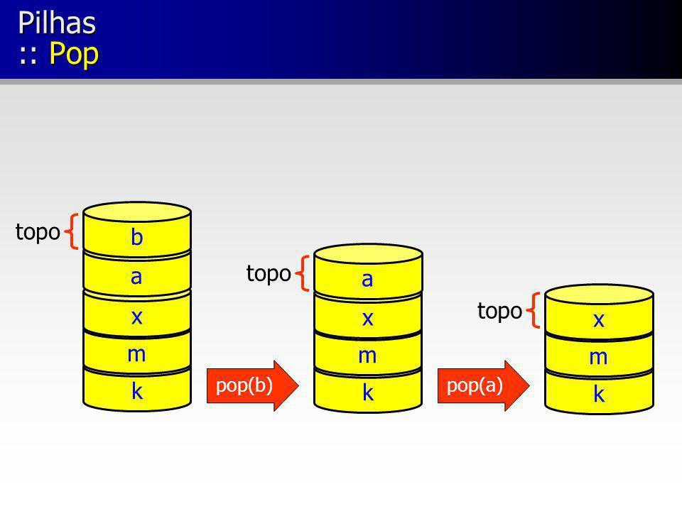 Pilhas :: Pop b topo a topo k m x a x topo k m x m k pop(b) pop(a)