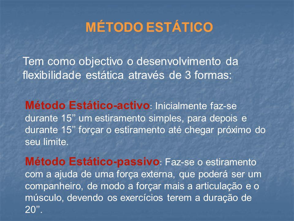 MÉTODO ESTÁTICO Tem como objectivo o desenvolvimento da flexibilidade estática através de 3 formas: